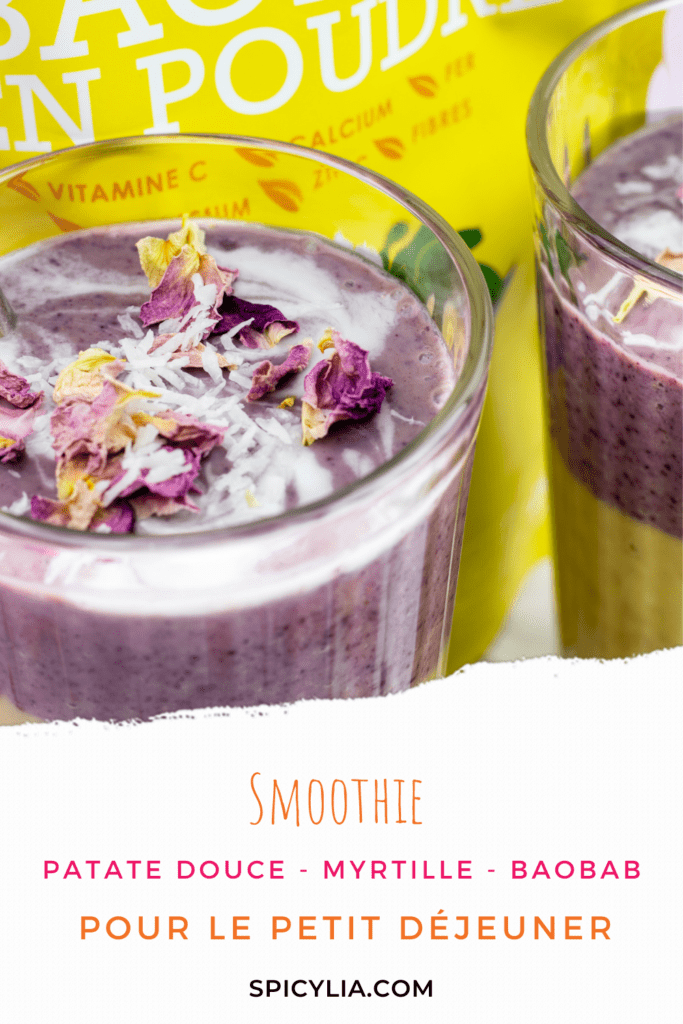 Smoothie patate douce – rose – myrtilles
